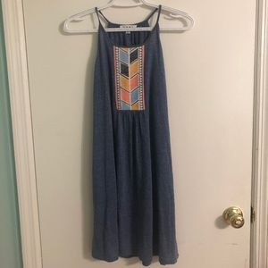 Blue Sundress with embroidered front